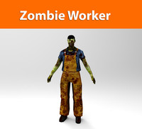 zombie worker low poly