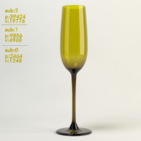 3d champagne glass yellow