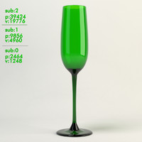 champagne glass green 3d model