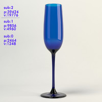 3d champagne blue glass