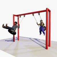 boys playing playground swings c4d