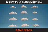 12 Low Poly Clouds Bundle
