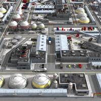 3d modern industrial complex city