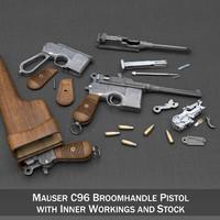 mauser c96 broomhandle stock 3d model