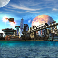 lightwave futuristic city tomorrow cityscape