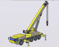 120t mobile crane 3d dwg
