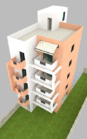 3d modern appartments building