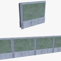 subdivision noise barrier 3d obj