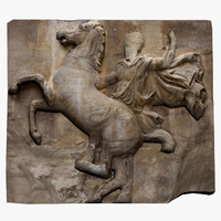 3d obj metope marble parthenon
