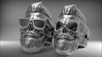 Skull Ring bearded hipster STL for 3d printer