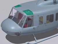 bell uh-1h cockpit 3d 3ds