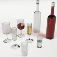 3d model set 3 glasses vodka bottles