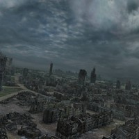 3d model ruined city post apocalyptic