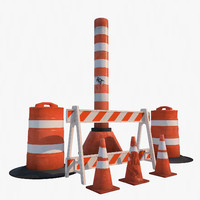 3d model traffic barrier set