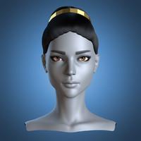 female head greek hairstyle 3d blend