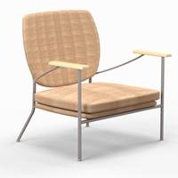 mid-century upholstered chair 3d model