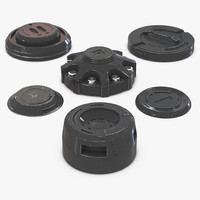 industrial end caps set 3d model