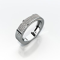 3d wedding ring gemstones model