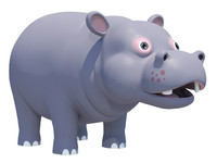 3d model cute hippopotamus animations