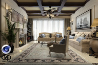 Living Room VrayforC4D 1.9