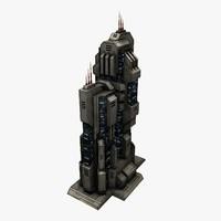sci-fi city building 3d model