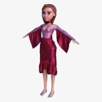 3ds cartoon girl dress