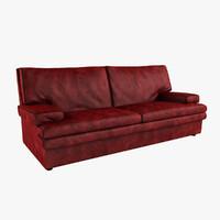 burgundy leather sofa 3d max