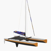 small sail catamaran generic 3ds
