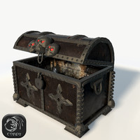3d realistic pirate chest model