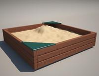 sandbox wood 3d model