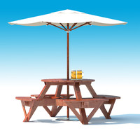 Garden Furniture: exterior Picnic deck Table with umbrella, Parasol and Beer for outdoor caf or terrace
