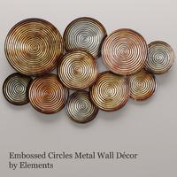 3d embossed circles metal wall model