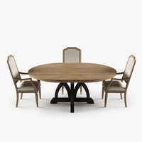 Corsica Round Dining Table Upholstered Arm Chair