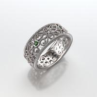 Wedding ring with round gemstones 006