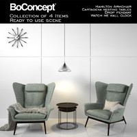 Boconcept Full Scence of Hamilton Armchair With Accessories