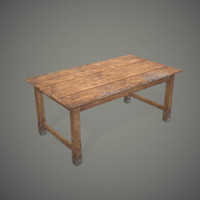 3d old wooden table