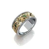 Wedding ring with round gemstones 004