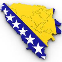 3d Political Map of Bosnia