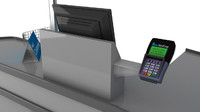 Checkout counter with card swipe and till