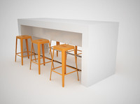 Counter with metal bar stools