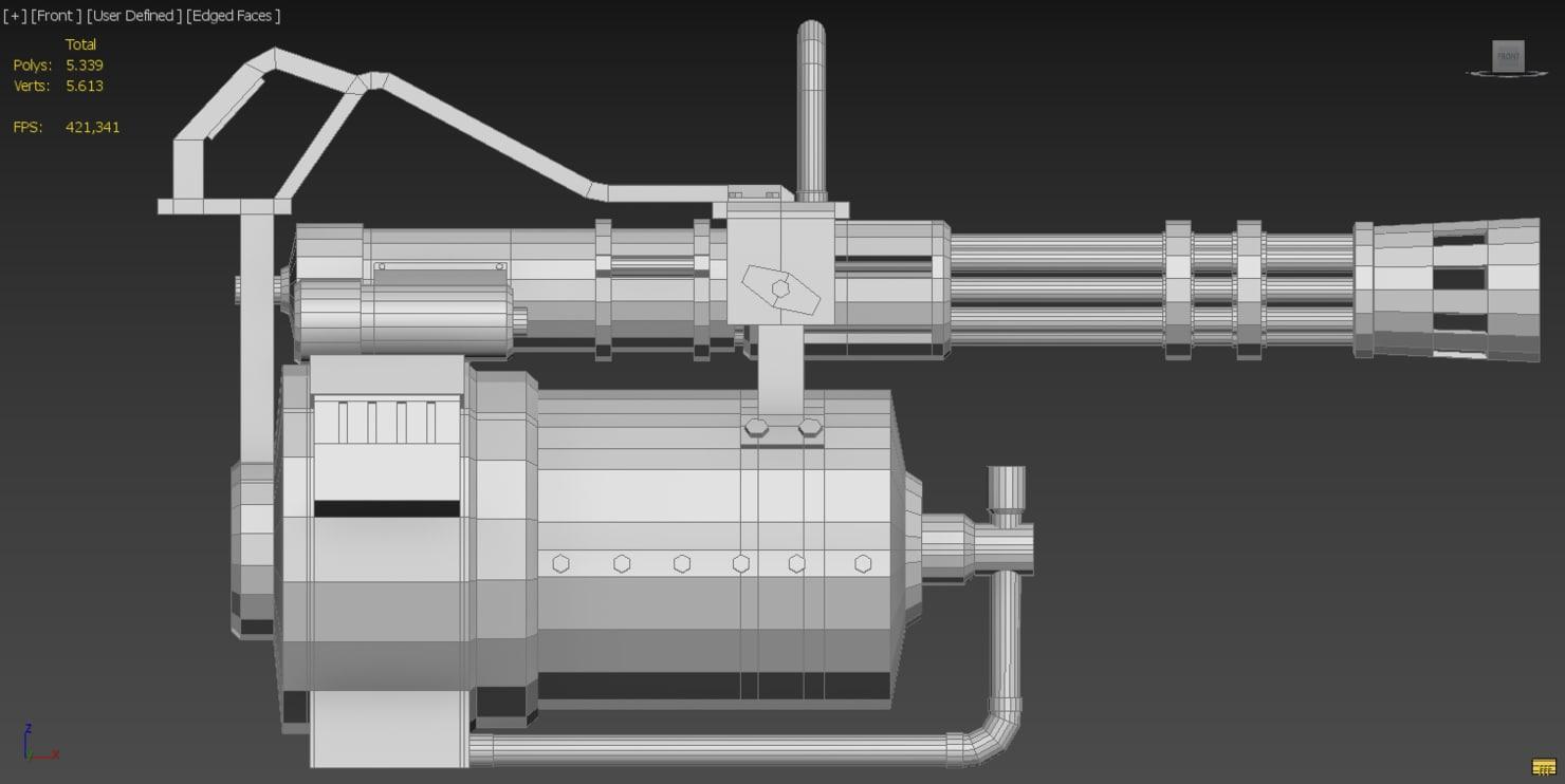 3d max gatling gun heavy