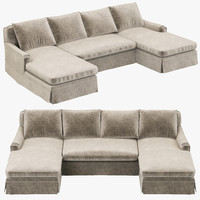 Restoration Hardware Belgian Classic Roll Arm Slipcovered U-Chaise sectional