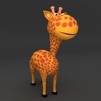Giraffe low poly rigged model