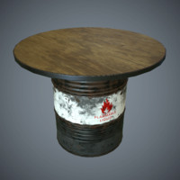 Oil Drum Desk Game Ready Low-Poly PBR