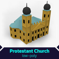 low-poly protestant church 3ds