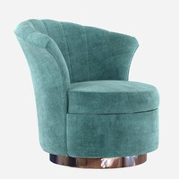 Custom made rounded lounge chair in cyan upholstery