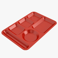 Lunch Food Tray 01 Red