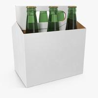 6 Pack Bottle Holder White with Bottles