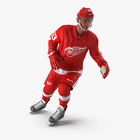 Hockey Player Detroit Red Wings Rigged
