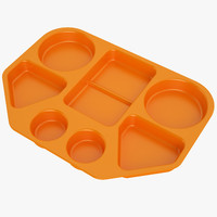 Lunch Food Tray 02 Orange